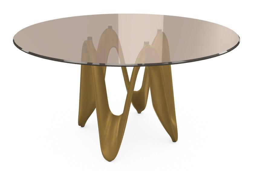 italiski valgomojo baldai stalas-LAMBDA GLASS BR TBTB