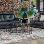 minksti juodi baldai dviviete triviete sofa sincope