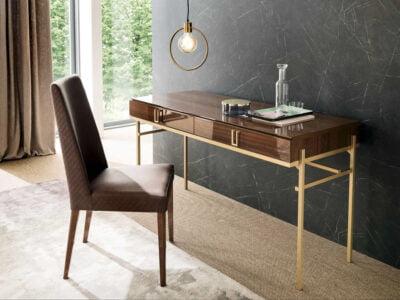 Italiski miegamojo baldai Mid Century kosmetinis staliukas ir kėdė