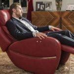 minksti baldai raudonas fotelis twist solo