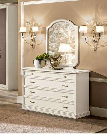 Camelgroup itališki klasikiniai baldai Nostalgia Night Bianco komoda su veidrodziu