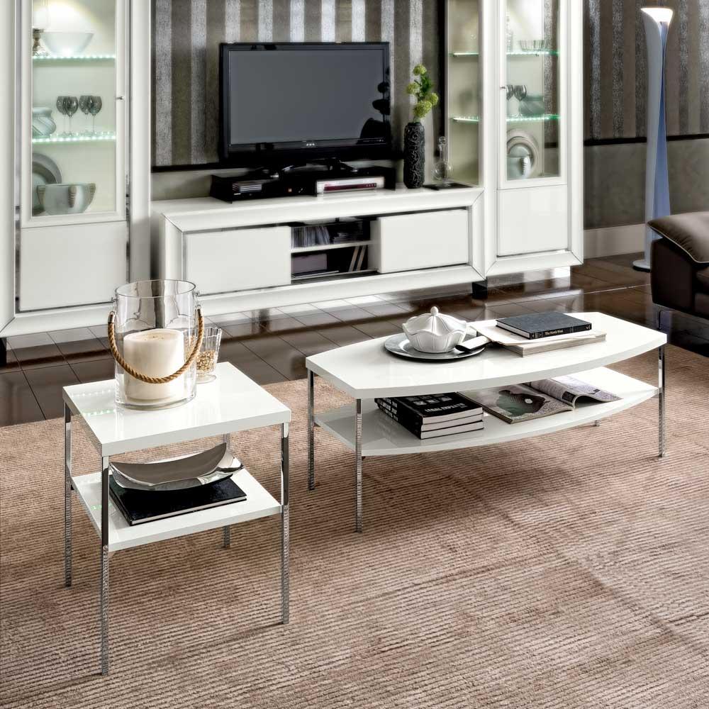 Camelgroup itališki valgomojo ir svetainės baldai Dama Bianca kavos ir žurnalinis staliukas