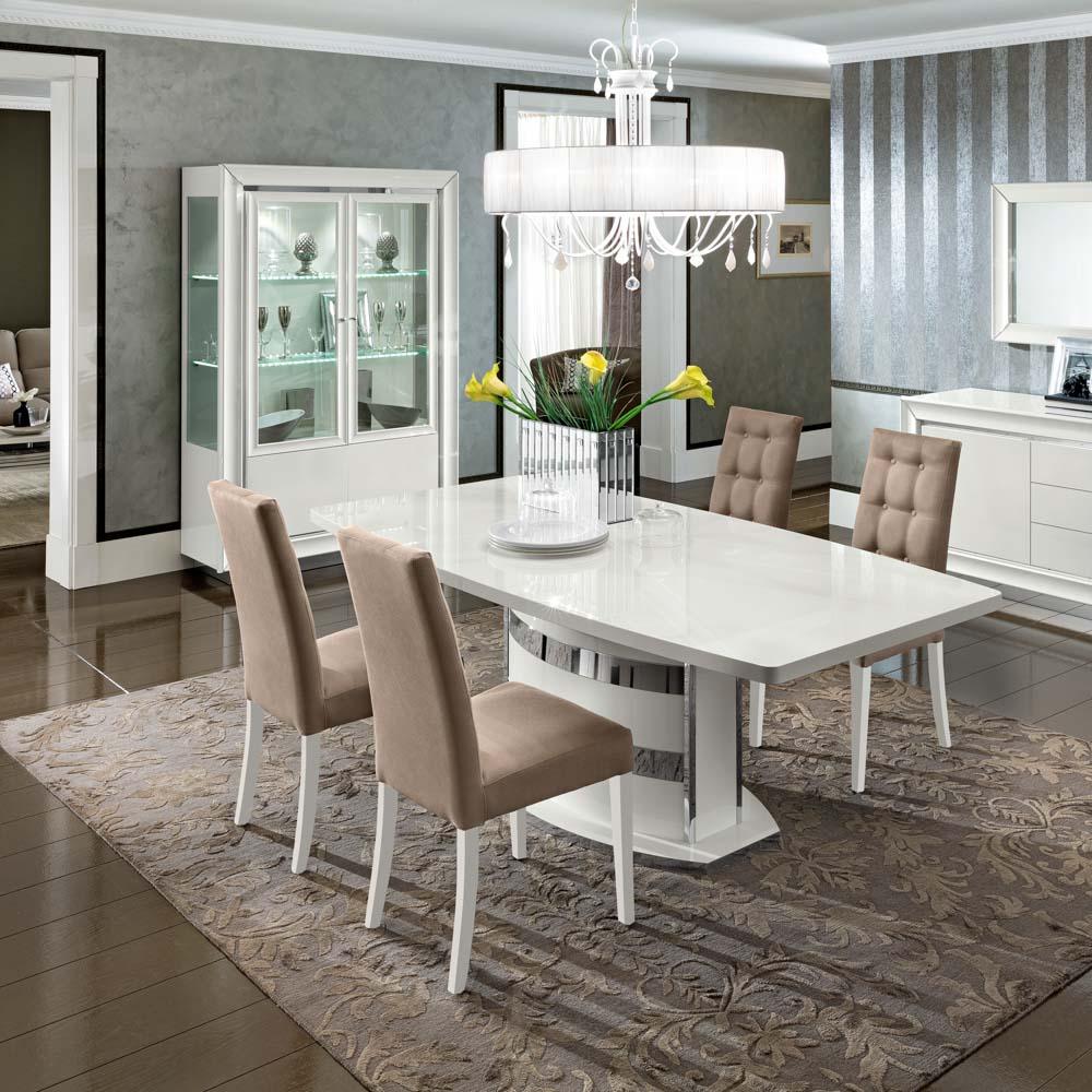 Camelgroup itališki valgomojo ir svetainės baldai Dama Bianca stalas ir kėdės (1)