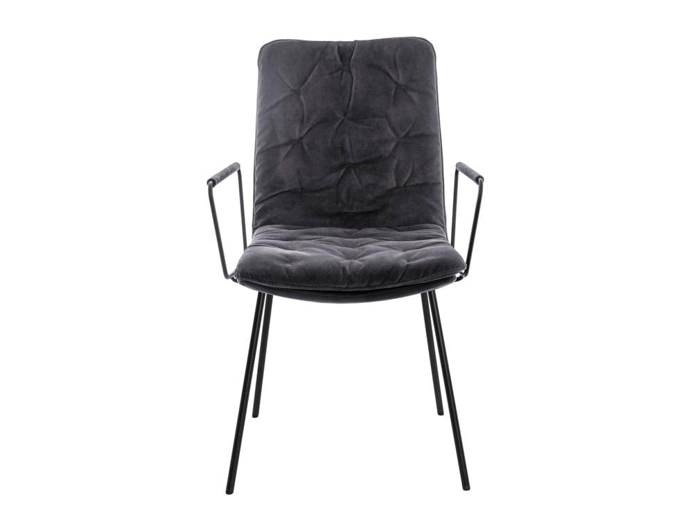 Vokiški baldai kėdė ARVA-STITCH su porankiais pilka (1)